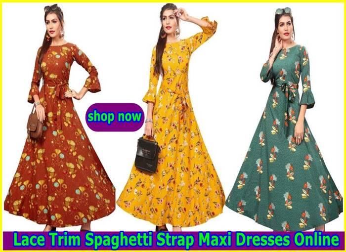 Lace Trim Spaghetti Strap Maxi Dresses Online