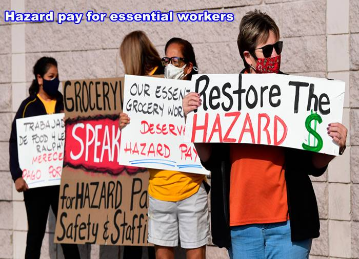 Hazard pay for essential workers